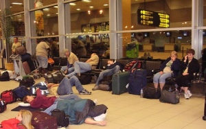 Sleeping in the airport.